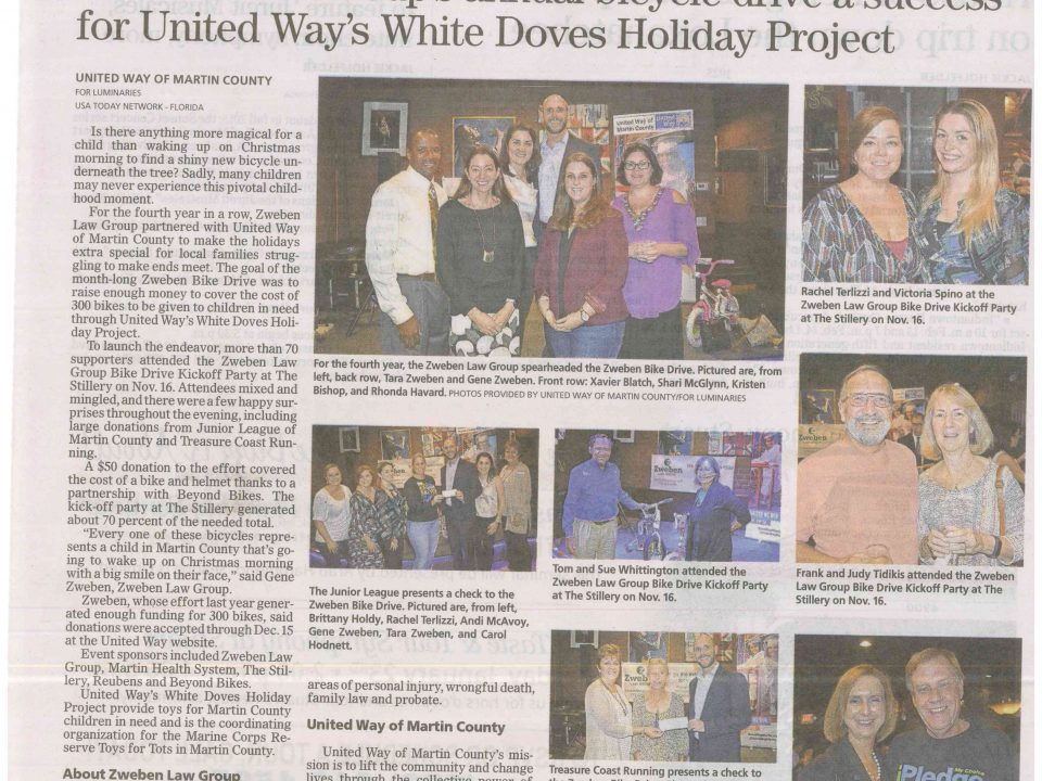 white doves, zweben, attorney, injury, united way